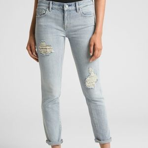 GAP Light Blue Mid Rise Destruct Girlfriend Jeans